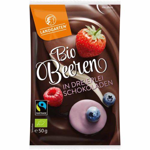 Bio Beeren in dreierlei Schokoladen 50g